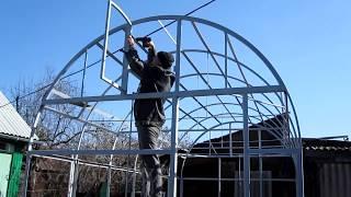 видео Каркас теплицы из профильной трубы чертежи