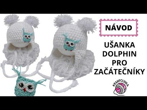 Usanka Dolphin in pro začátečníky - Crochet Beanie with ear flaps for beginners