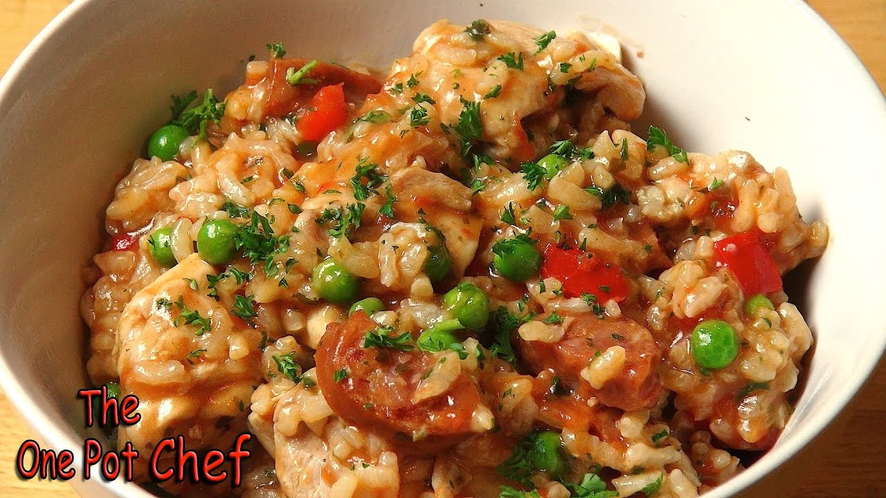 Easy chicken and chorizo risotto one pot chef youtube for How do i make chicken risotto