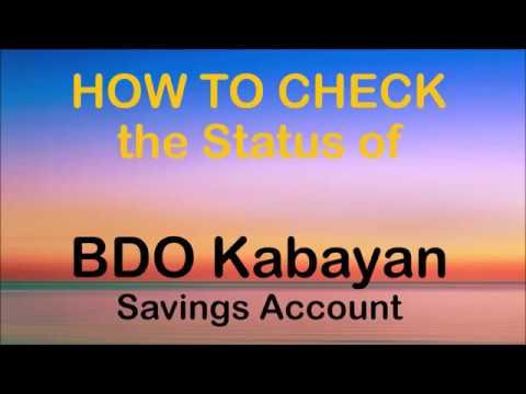 How to Check the Status of BDO Kabayan Savings Account ...