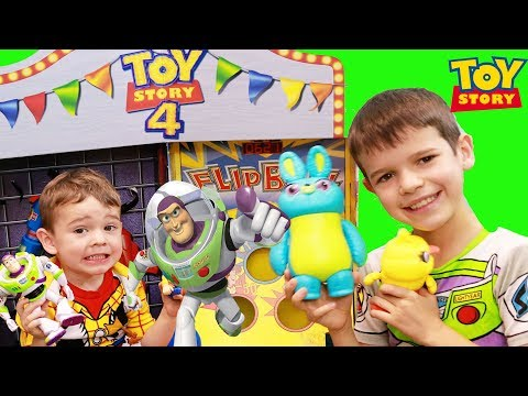 Toy Story 4 Buzz STUCK IN CARNIVAL Game with Forky Bo Peep & Woody! |