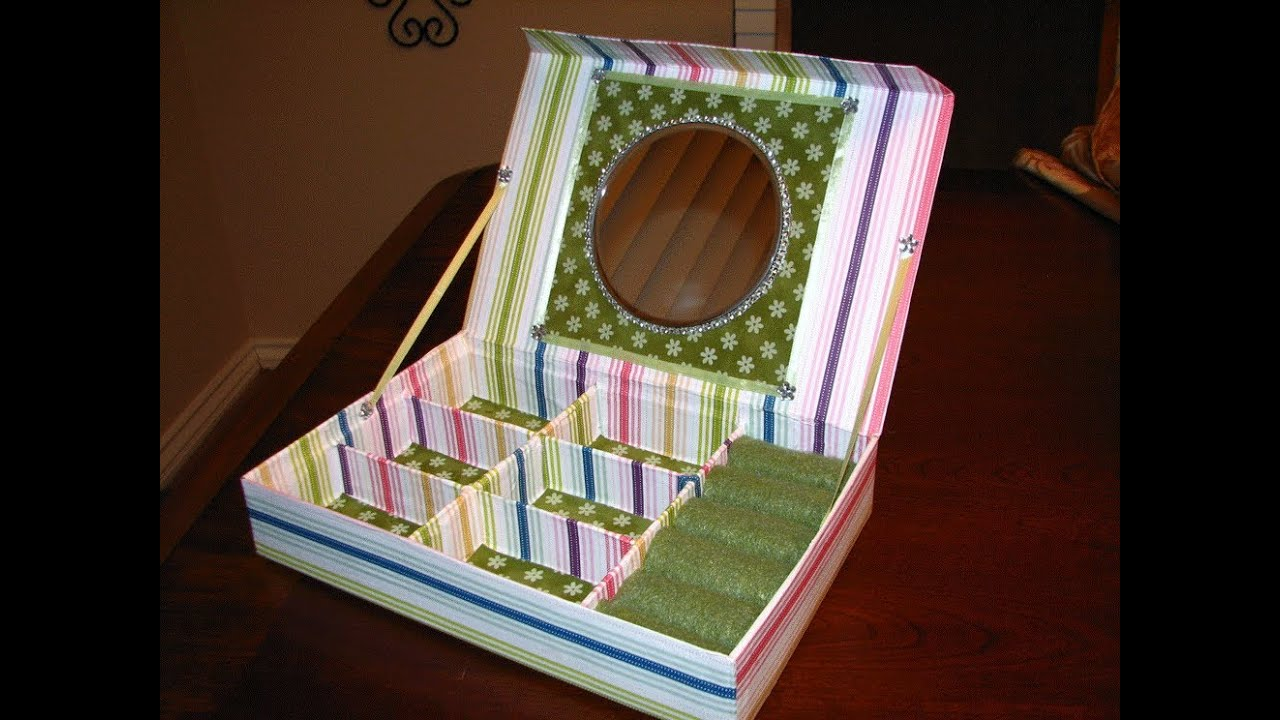 Recycle ideas jewerly box with mirror youtube for Reuse shoe box ideas
