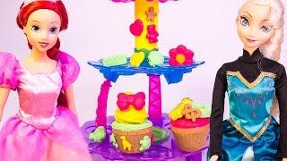 Disney Princess Ariel Princess Elsa Frozen Dolls Play Doh Cupcake Tower Playset Hasbro Toys