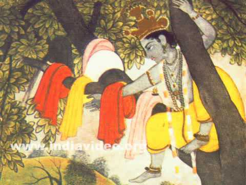 Stealing of Gopis' clothes by Krishna, late eighteenth century Pahari painting in Kangra style