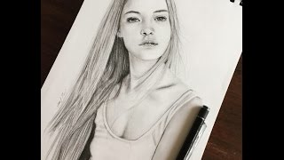 How to draw a pretty girl  (Drawing Time Lapse)