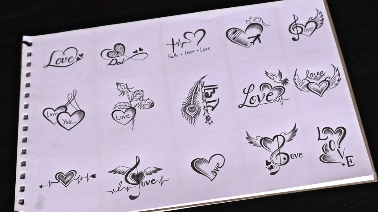 fifteen beautiful love 😘 tattoo designs making with pencil || amazing video must watch