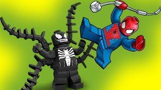 12 подвигов супергероев. Подвиг №6. Человек паук, Веном, Бэтмен, Джокер. Лего мультики для детей.