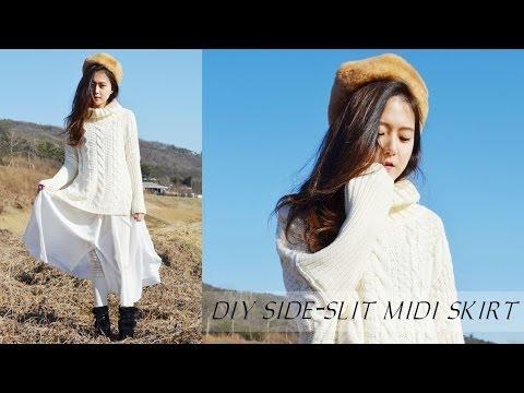 DIY Side-Slit Midi Skirt - YouTube