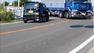 大型トラック海岸寺クランク通過.wmv
