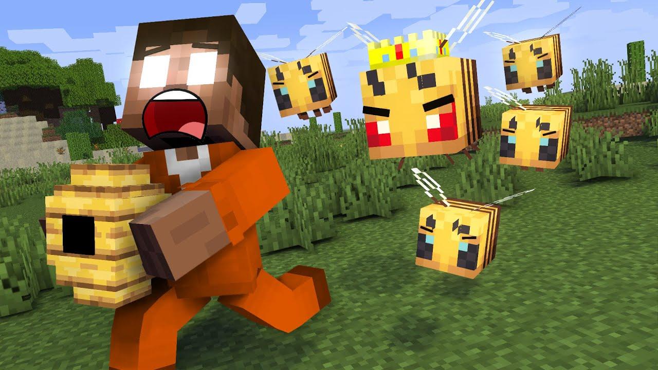 Monster School: BEES CHASE HEROBRINE - Minecraft Animation