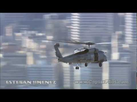 Sikorsky SH-60 Seahawk Helicopter over Los Angeles.