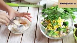 Салат с макаронами и капустой брокколи