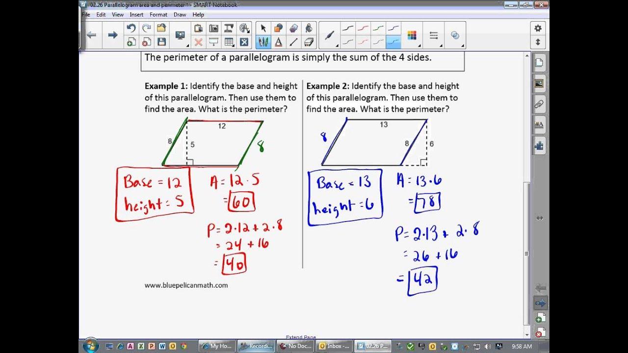 Geometry Lesson 92  Parallelogram Area And Perimeter