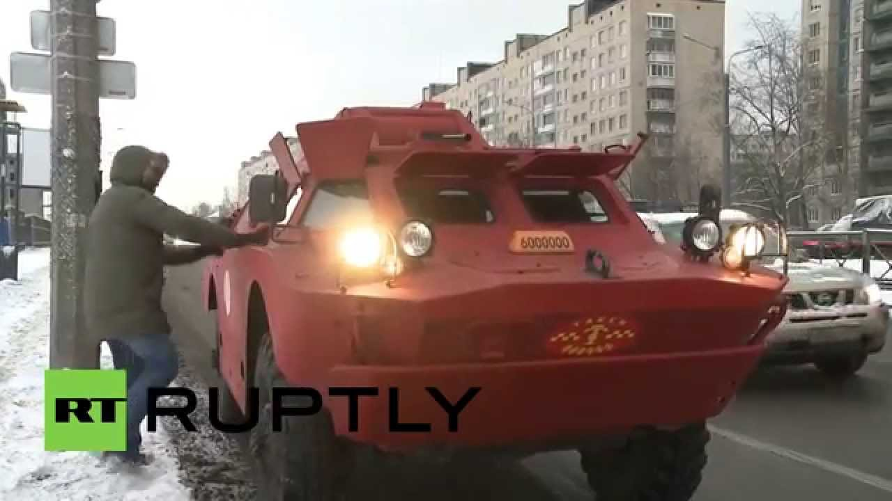 Russia: BRDM-2 armoured vehicle used as TAXI Video Thumbnail