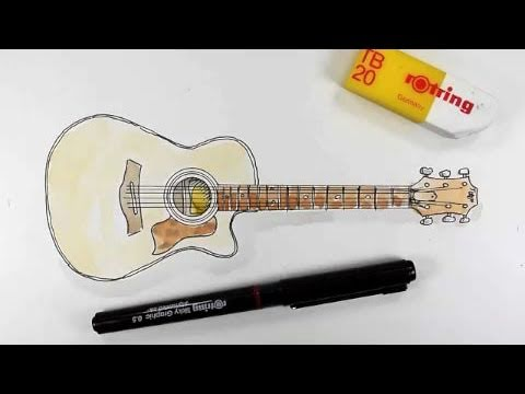 How to draw a Taylor 414ce Acoustic Guitar