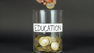 Young female filling a container with coin money to save for future education
