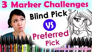 3 MARKER CHALLENGE Art Video - Blind VS Preferred Pick BrushMarkers(ART, 3 Marker Challenge, Blind VS Preferred Pick - Color, colour with Winsor & Newton BrushMarkers ❤ In this art video, I colour this artwork with these ..., 2016-07-22T14:30:00.000Z)