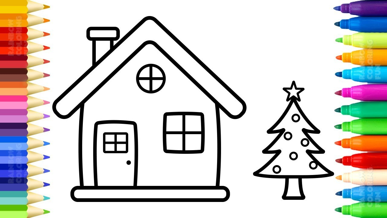 santa house coloring pages how to draw and paint christmas tree and house for kids