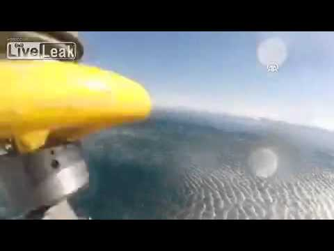 Turkish coast guards rescued a refugee in the last moment