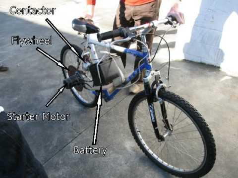 Starter motor powered electric bike youtube for How to make an electric bike with a starter motor