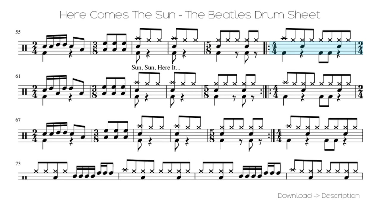 🎶 Here Comes The Sun - The Beatles Drum Sheet 🎸🎸