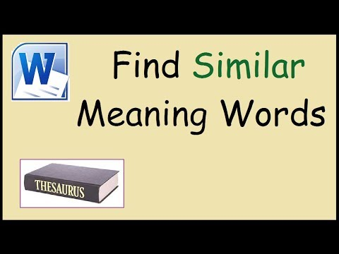 How to find similar meaning words using Microsoft Word