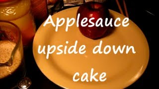 Applesauce Upside Down Cake / cast iron cooking  1of2