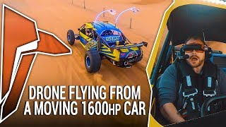 DRONE FLYING FROM A MOVING 1600HP CAR