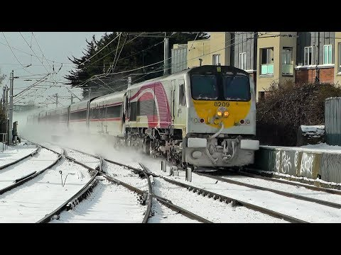 Trains in the snow around North Dublin