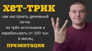 """Презентация нового проекта """"Хет-трик"""" доход от 100 тыс в месяц из трёх источников"""