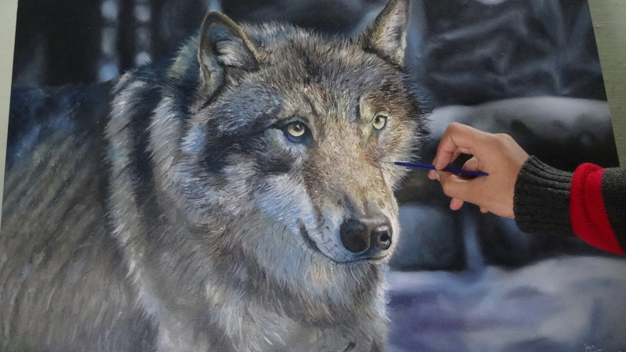 WOLF | Oil painting on canvas [speed painting] - YouTube