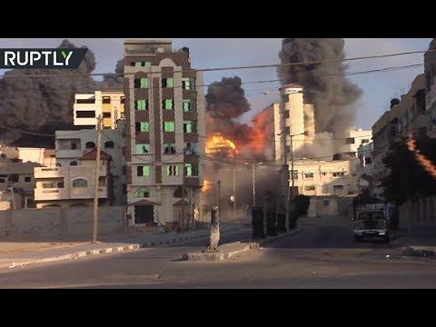 RAW: Moment Israeli Air Strikes Hit Gaza
