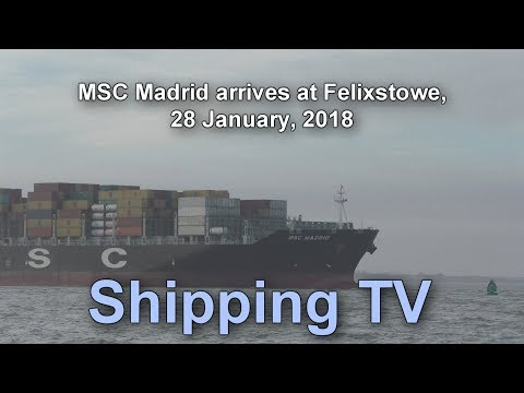 MSC Madrid arrives Felixstowe, 28 Jan 2018