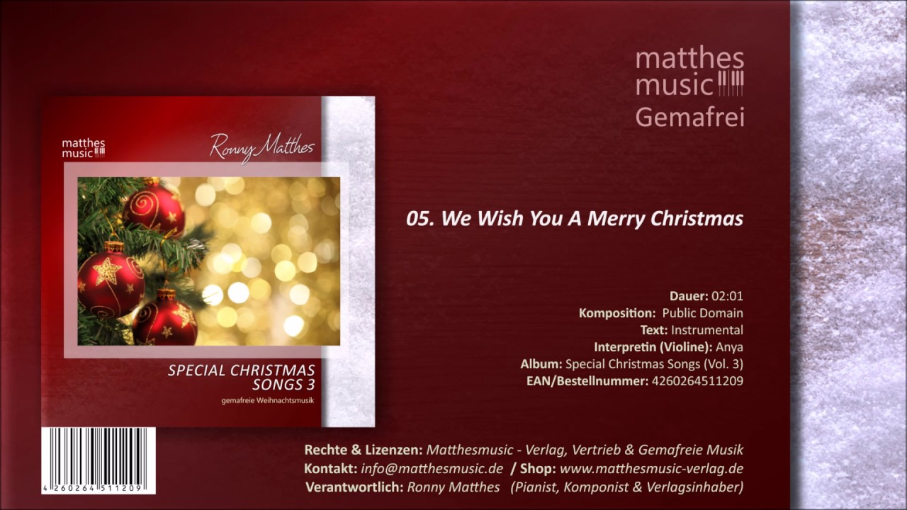 We Wish You A Merry Christmas 05 13 Instrumentale Version Cd Special Christmas Songs Vol 3