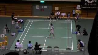 インターハイ2012 シングルス準決勝 桃田(富岡)VS西本(埼玉栄)
