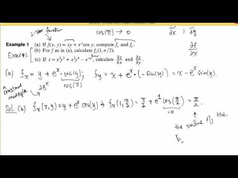 Introduction to Partial Derivatives of First Order, Fall 2016