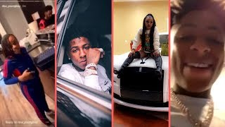 NBA YoungBoy and Girlfriend Money Yaya Floyd Mayweather Daughter Cooling At The House With YB Crew