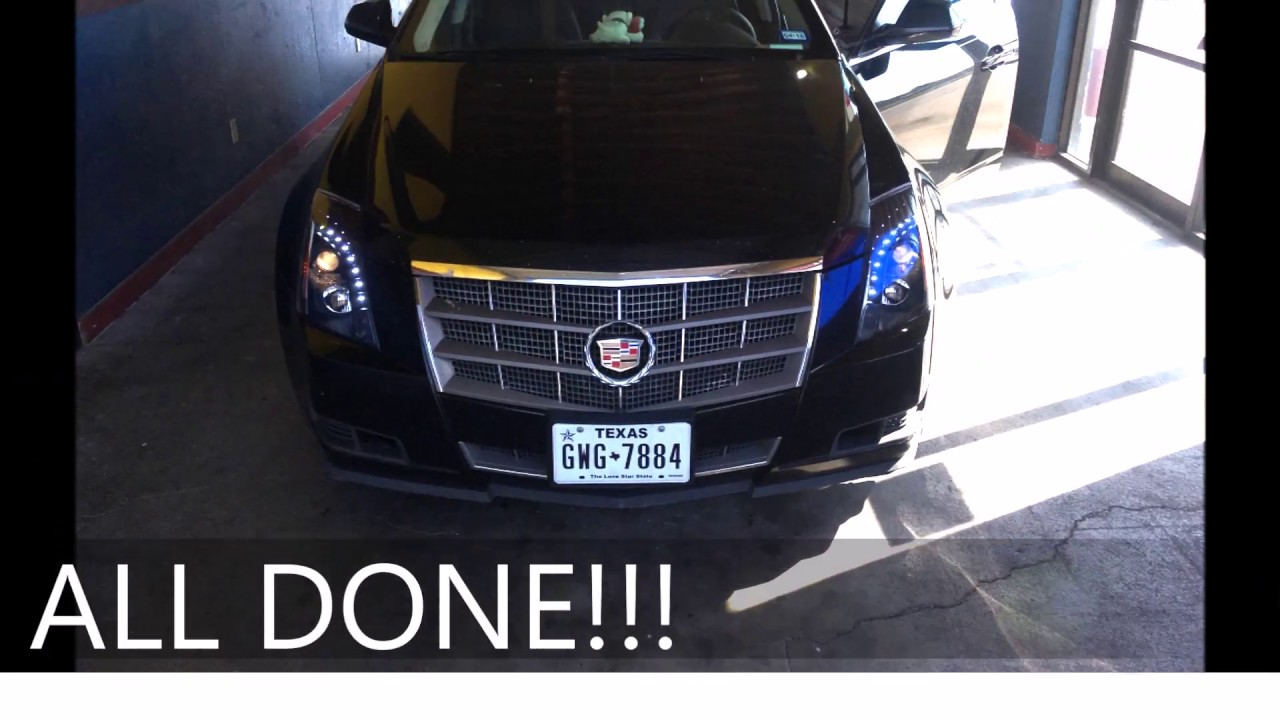 cadillac cts 08 13 headlight replacement repair no bumper removed [ 1280 x 720 Pixel ]