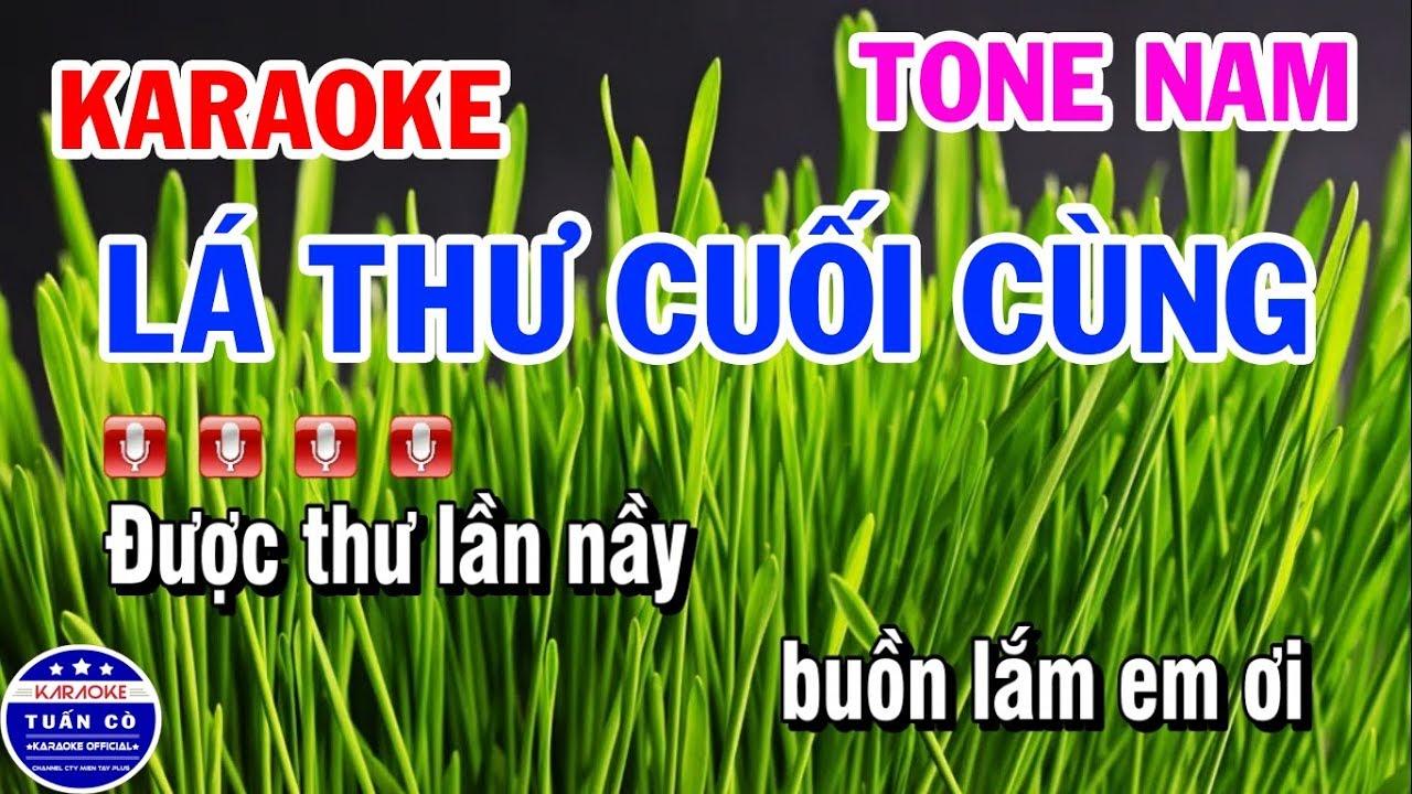Karaoke Lá Thư Cuối Cùng | Nhạc Sống Tone Nam | Karaoke Tuấn Cò