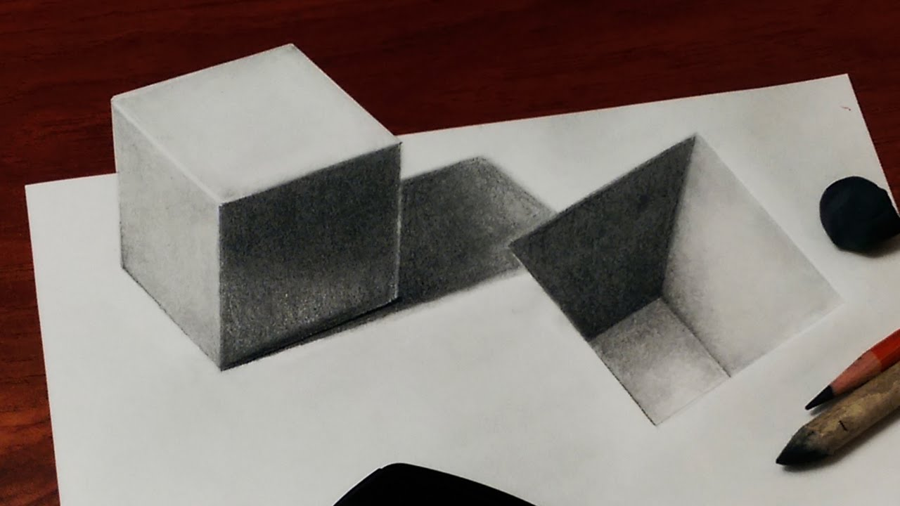 How to Draw a 3D Cube and Hole - YouTube