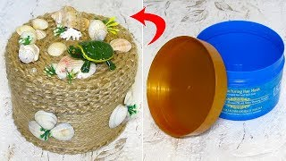 Шкатулка из пластиковой баночки, ракушек и джута. Как сделать шкатулку в морском стиле своими руками