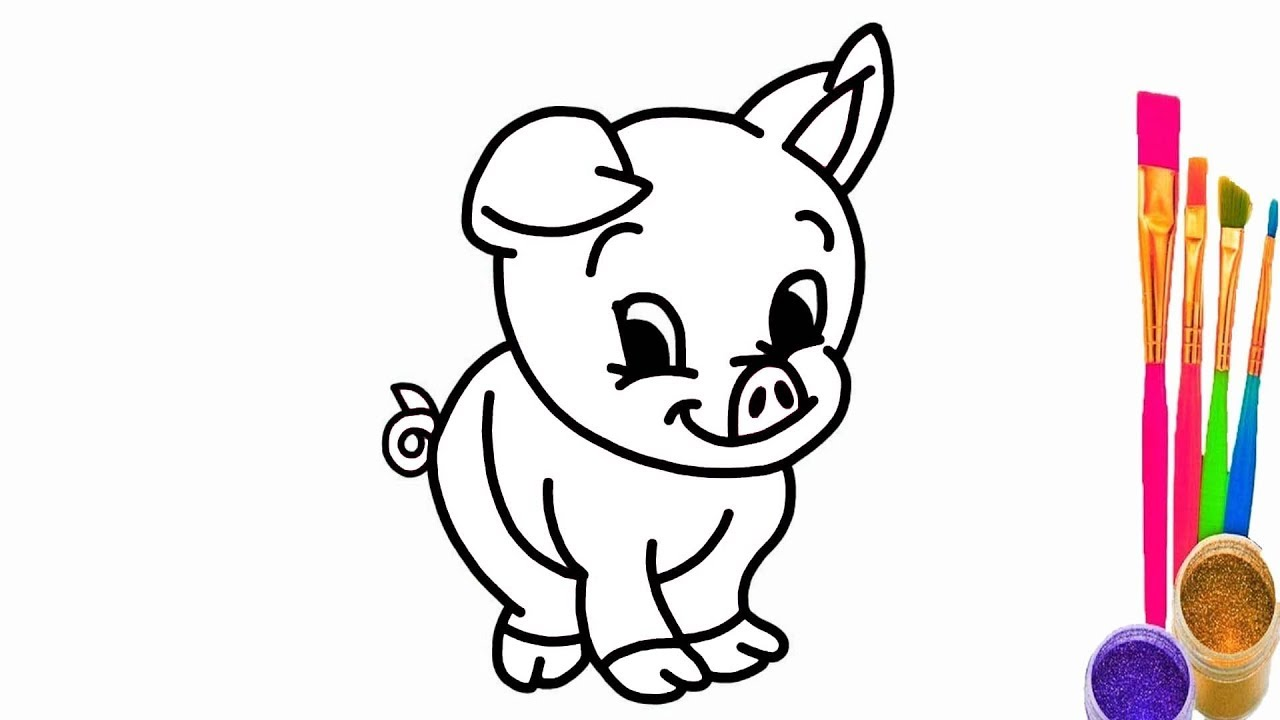 Pig Coloring Page   How to Draw Cartoon Pig and Coloring Pages ...