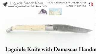 Laguiole Knife with Damascus Handmade Blade with its Ivory of Mammoth