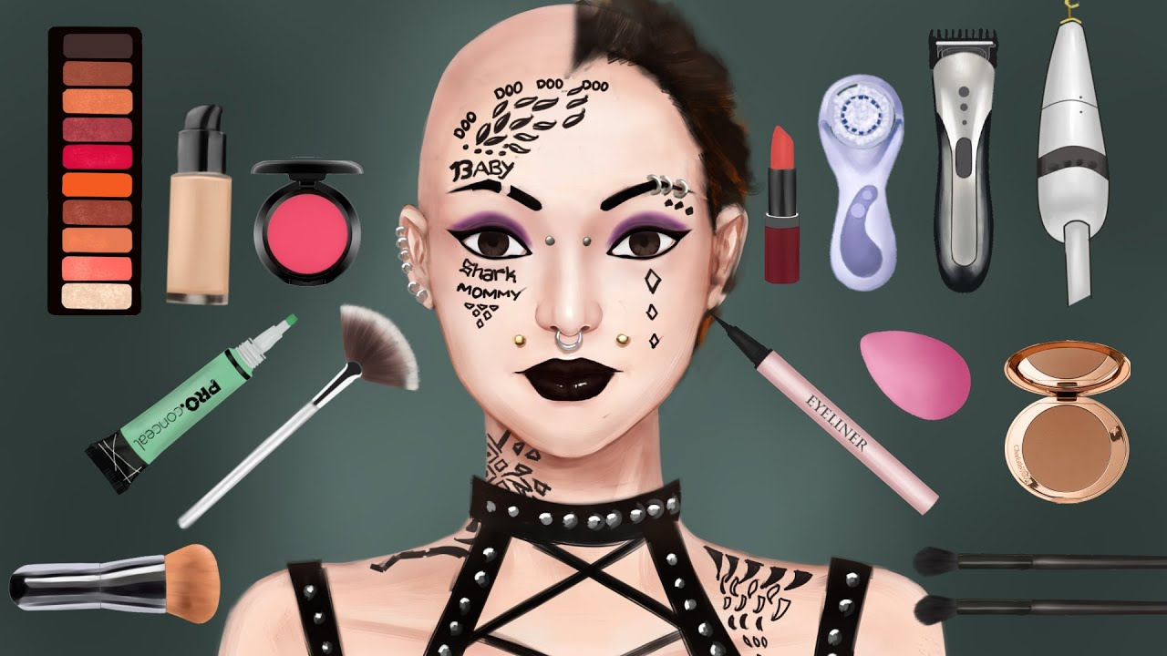 Makeup animation // PUNK REBEL to COTTAGECORE GIRL transformation // LASER TATTOO REMOVAL animation