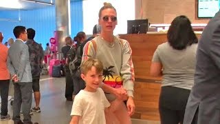 January Jones Holds Hands With Adorable Son Xander At LAX Amid Reports She's Dating Nick Delli Santi