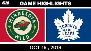 NHL Highlights | Wild vs. Maple Leafs - Oct. 15, 2019