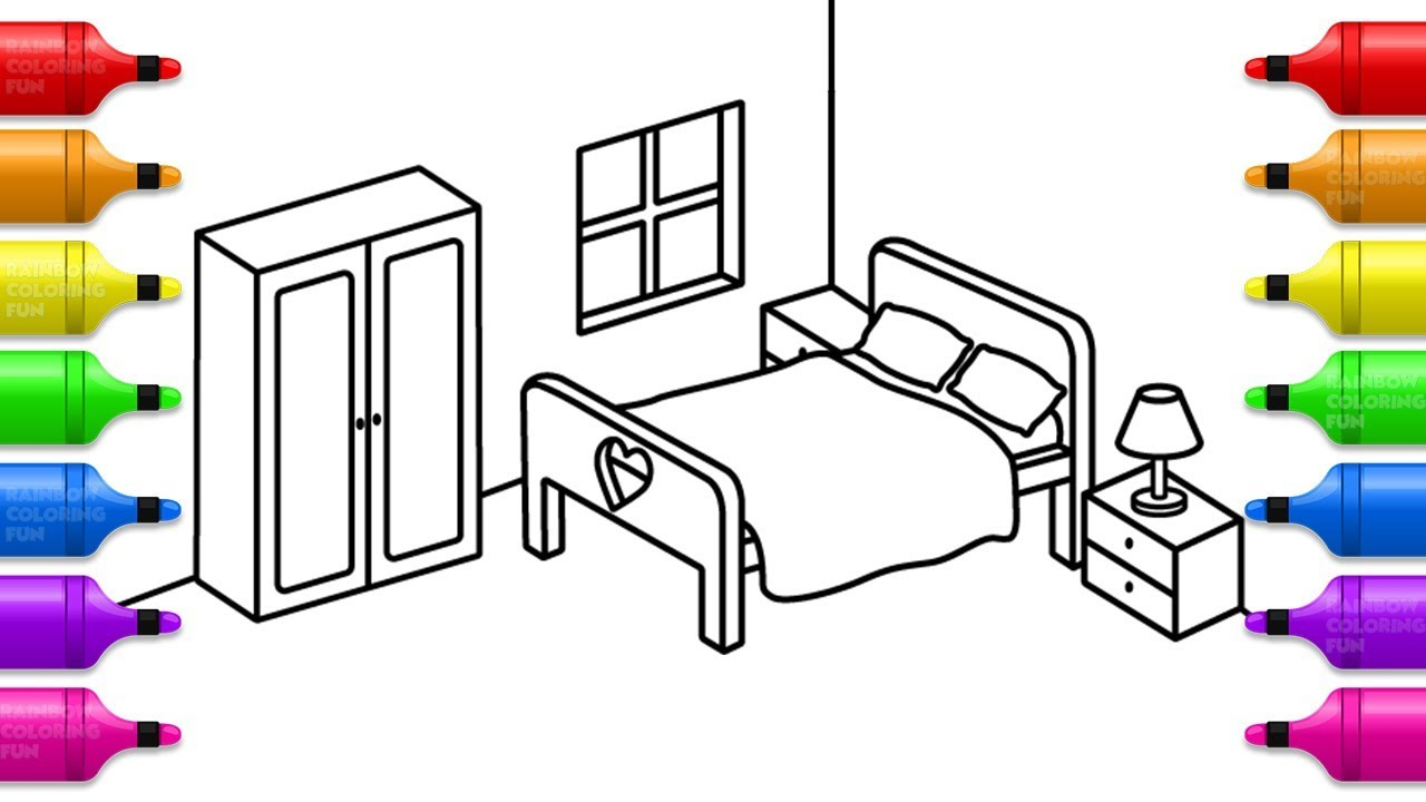 Learn Colors with Bedroom Coloring Pages | How to Draw Bedroom for ...