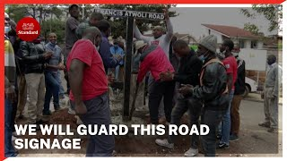 Youths install new Francis Atwoli road signage, vow to guard it against vandals