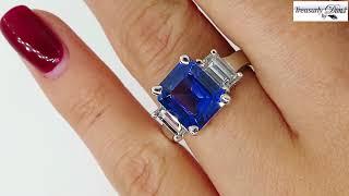 4.19ctw Ceylon GIA Natural Royal Blue Sapphire and Diamond Platinum 3 Stone Ring