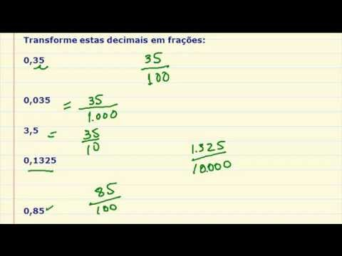 Transformar decimais em frações - Exercício resolvido